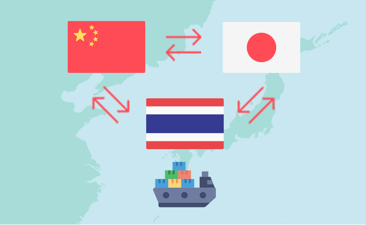 Import and export of chemicals between Japan, China, and Thailand